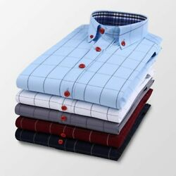 Long Sleeves Plaid Shirt Square Collared Casual Shirts Comfortable Wears For Men $33.99