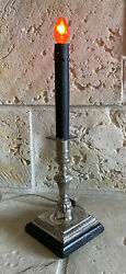Black and Silver Candlestick Lamp on Wood Base $29.99
