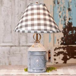 Paul Revere Lamp with Gray Check Shade in Weathered Tin Finish by Irvins $87.95