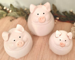Set 3 Ceramic Floppy Eared Pig Kitchen Canisters Jars Farmyard Collection White $64.97
