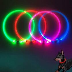 GLOW USB Rechargeable LED Dog Collar Light Up Dog Collars Glow in The Red $15.17
