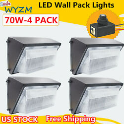 4Pack 70W Led Wall Pack Industrial Light Dusk to Dawn Outdoor Commercial Lights