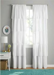 Your Zone Ruffle Girls Bedroom Two Curtain Panels 42quot; x 84quot; White $30.00