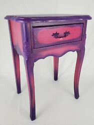 Vintage Nightstand End Table French Provincial Hand Painted Pink And Purple $148.95