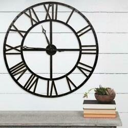 Pinnacle Oversized Black and Bronze Metal Round Wall Rustic Roman Numeral $102.59