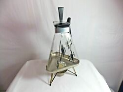 Vtg Mid Century Modern Glass Triangle Coffee Pot Carafe w Lid and Stand Warmer $45.00
