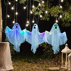 3 Pack Halloween Decorations Light Up Hanging Ghost with Bendable Arms Party $15.17