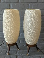 PAIR Mid Century PLASTIC BUBBLE SHADE LAMPS Metal Wood Tripod Base WORKS $200.00