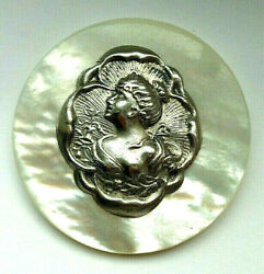 XL ANTIQUE VINTAGE SHELL MOP BUTTON w SILVER METAL CAMEO LADY OME 1 and 11 16quot; $48.00