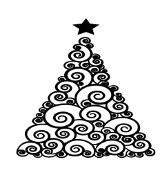 Swirling Christmas Tree Vinyl Decal Sticker For Home Cup Car Wall Decor Choice $5.99