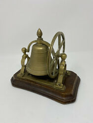 Vintage Antique Brass Desk Top Bell With Hand Wheel Mounted On Wooden Plinth $29.99