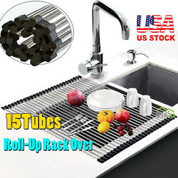 Kitchen Stainless Steel Sink Drain Rack Roll Up Dish Food Drying Drainer Mat $9.99