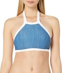 Seafolly Womens Block Party High Neck Tank Swim Top Blue White Halter 12 New $17.00