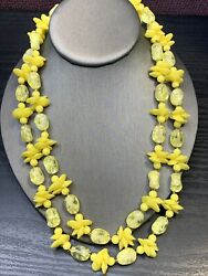 Vintage 1950s beaded Shades Of Yellow All Lucite Beaded 2 Two Strand Necklace $30.78