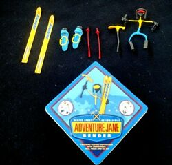 Hog Wild ADVENTURE JANE BENDER Skis Snowshoes Poles amp; Ice Axe Posable Magnetic $7.50