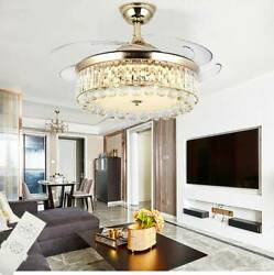 42quot; Chandelier Ceiling Fan Light Invisible Blade Crystal LED With Remote Control $135.99