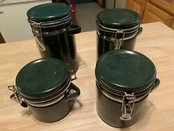 Green Hinged Kitchen Canisters. No Wooden Spoons. Set Of 4. $14.00