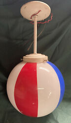 Vintage Hanging BALL BARBER SHOP CIRCUS RED WHITE BLUE GLASS GLOBE 10quot; Hanging $98.99