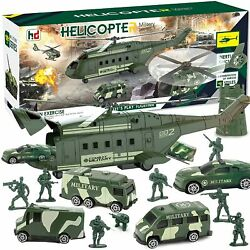 Army Toy Helicopter Playset Friction Powered Transport Helicopter For Kids $19.99