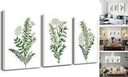 3 Pieces Framed Wall Art for Living Room Bathroom 12x16inches*3pcs Green Plants $38.27