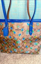 COACH Limited Edition Floral City Zip Tote Large With Signature Logo $120.00