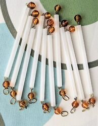 10 Vintage White Pearl Chandelier Light Tubes Amber Hand Blown Crystals 1 of 3 $11.75