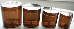 Vtg. San Remo Plexiglas Kitchen Canisters Set of 4 Clear Brown Nesting Italy $25.99