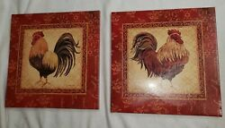Rooster Pictures Wall Decor Canvas Burgandy Rooster Prints Wall Art Kitchen cp $12.00