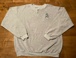 VINTAGE Snowshoe Adult Large Gray Fleece Sweater Pullover Wolf Mtn Embroidery $24.99