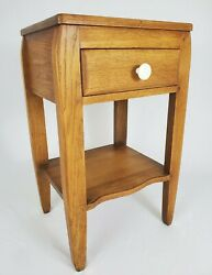 Vintage Nightstand End Table With Drawer Tiger Oak Wood Rustic Farmhouse $158.00