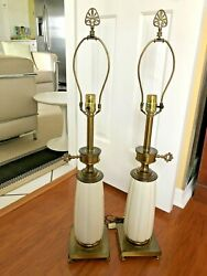 Pair STIFFEL Lamps Hollywood Regency Cream Porcelain and Brass Neoclassical $105.00