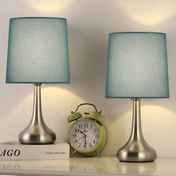 Small Table Lamps Set Of 2 Nightstand Desk Lamps With Silver Metal Base amp; Blue $50.66