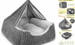 Dog Beds for Large Medium Dogs Rectangle Cave Hooded Blanket Puppy Small Grey $36.18