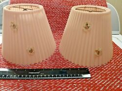 Matching Pair of 6 Inch Vintage Small Plastic Pleated Clip On Pink Lamp Shades $19.95