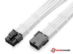 8 Pin Pcie White GPU PSU Sleeved Power Supply Extension Shakmods 2 Cable Comb $14.40