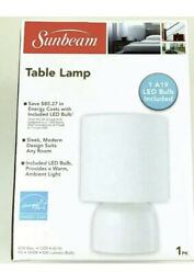New Sunbeam White Table Lamp Light W A19 LED Bulb Included Free Shipping $10.99