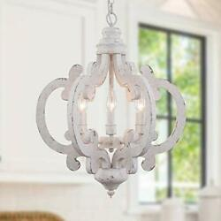 Cottage Wooden Chandelier 6 Candle Light Farmhouse Chandelier French Country ... $270.87