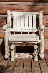 Outdoor Amish Glider Chairs Rustic Log Porch Rocker Lodge Rustic Bench