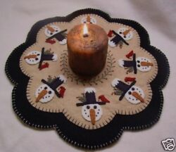 PATTERN! Penny RugCandle Mat PATTERN ~*WinTeR FriEnDs*~ snowman wool applique