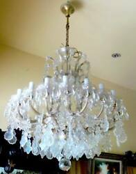 1960'S LARGE  BOHEMIAN CRYSTAL CHANDELIER WITH 18+1 LTS