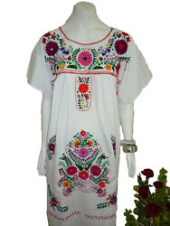 Any Color Peasant Vintage Tunic Embroidered Mexican Dress  XS S M L XL XXL $26.99