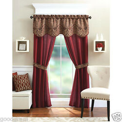 Unique 5 Piece Complete Window Curtain Set With Tiebacks Assorted Colors $16.99