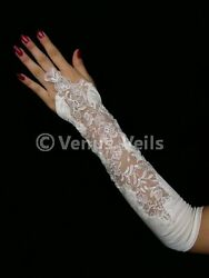 14quot; White Wedding Party Fingerless Pearl Gloves Gl212W $19.99