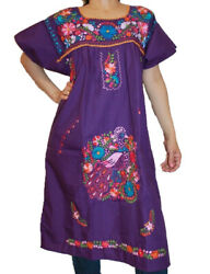 Assorted Knee-Length Peasant Tunic Embroidered Mexican Dress  $24.99