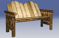 Rustic Outdoor Log Benches Amish Made Bench Log Cabin Benches Handmade in USA