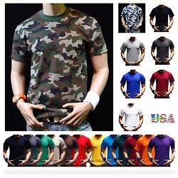 Men Big and tall Heavy Weigh Plain T Shirt Crew Neck Casual Basic Solid Tee S 7X $17.99
