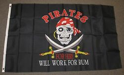 PIRATES FOR HIRE FLAG 3#x27;X5#x27; CROSSED SWORDS WILL WORK FOR RUM 3X5 FEET F797 $7.99