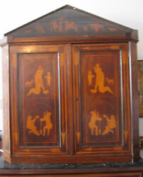 Antique Apothecary Corner cab English Penwork late C1700 Walnut holly inlay