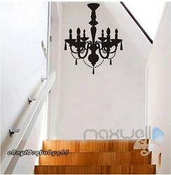 Black Chandelier Wall Decals Vinyl Art Home Stickers Room Decor AU $56.99