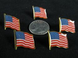 Lot Of 5 American Flag Patriotic Pin Lapel Vest Hat PinTie Tack. USA. Epoxy.